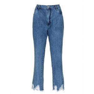 Calça Jeans Reta Barra Destroyed