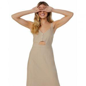 Vestido Linho Midi Abertura