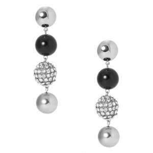 Brinco Esferas Metal E Cristal