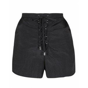 Shorts De Tafetá Com Amarração