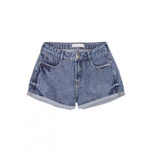 Shorts Jeans Na Base Quadradinho Com Barra Dobrada E Lavação
