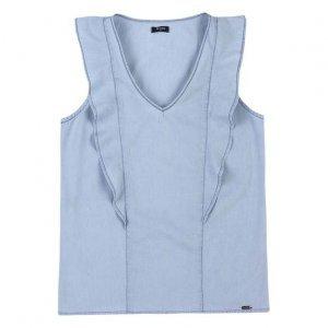 Blusa Jeans Feminina Em Algodão Com Babado E Lavação Clara