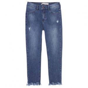 Calça Jeans Skinny Feminina Com Barra Desfiada