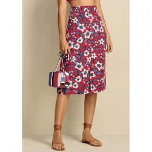 Midi Skirt In Textured Viscose Fabric With Button Down