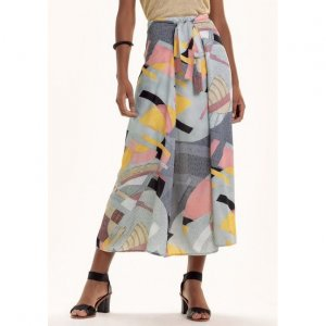 Printed Skirt In Viscose Fabric With Front Lace