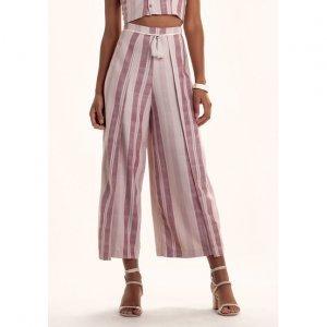 Calça Pantalona Midi Listrada Em Tecido De Viscose