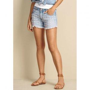Shorts Jeans Em Algodão Com Puídos E Barra Desfiada