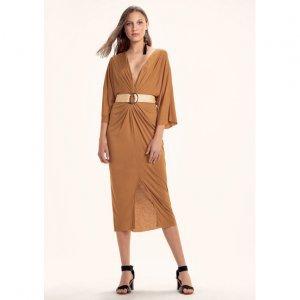Vestido Em Malha De Viscose Com Transpasse Frontal