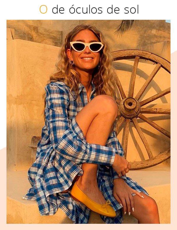 Emili Sindlev - vestido-xadrez - óculos - verão - street-style