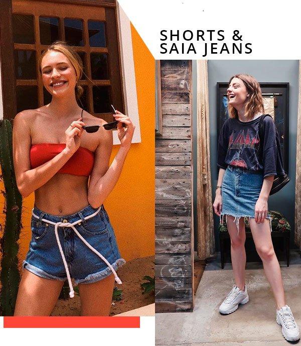 Laís Oliveira e Mariana Andrade - short-saia-jeans - jeans - verão - street-style