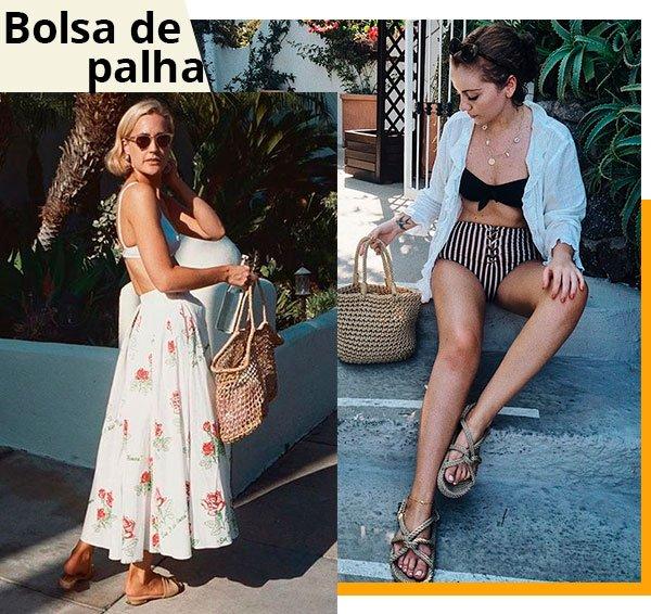 bolsa - palha - verao - praia - looks