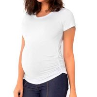 "Pregnant T-Shirt ""Stretch-and-Go"" - White Short Sleeve"