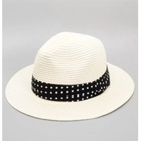 STRAW HAT WITH BAND AT