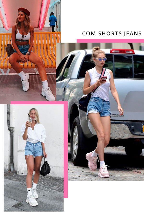 Gigi Hadid, Giordana Serrano - short-jeans-chunky-sneakers - dad sneakers - verão - street-style