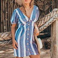 Vestido Resort Listras Azuis Tamanho: M - Cor: Azul