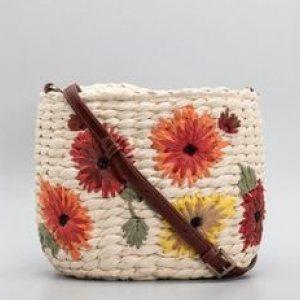 Bolsa de Palha com Bordado Floral