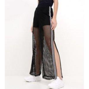 Calça Pantalona em Tela com Faixa Lateral