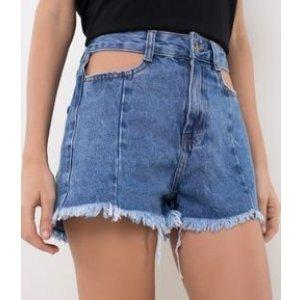 Short Jeans Cintura Alta com Recorte Lateral