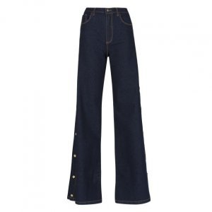 Calça Jeans Wide Botões Laterais