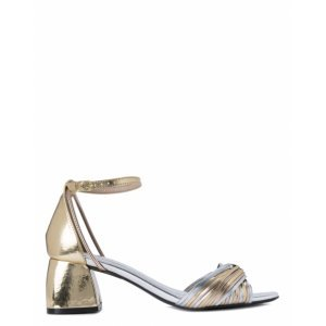 Sandália Salto Baixo Metalizada
