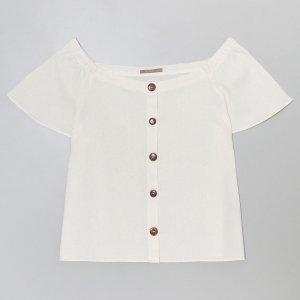 Blusa Ombro a Ombro em Linho Curve & Plus Size