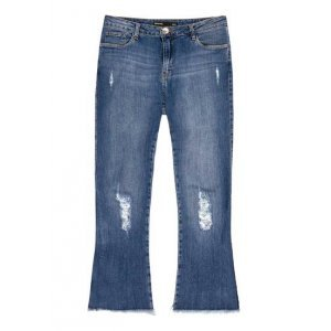 Calça Jeans Com Modelagem Cropped Flare