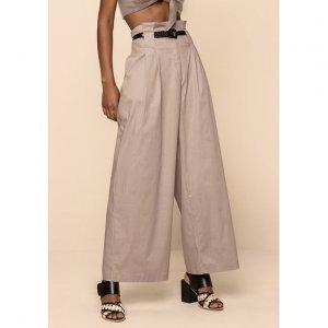 Calça Pantalona Em Tecido De Algodão Com Cintura Alta
