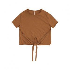 T-Shirt Em Malha Com Nó Frontal Na Barra