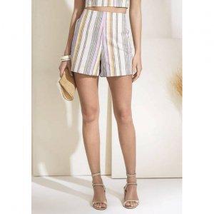 Shorts Listrado Em Tecido De Algodão