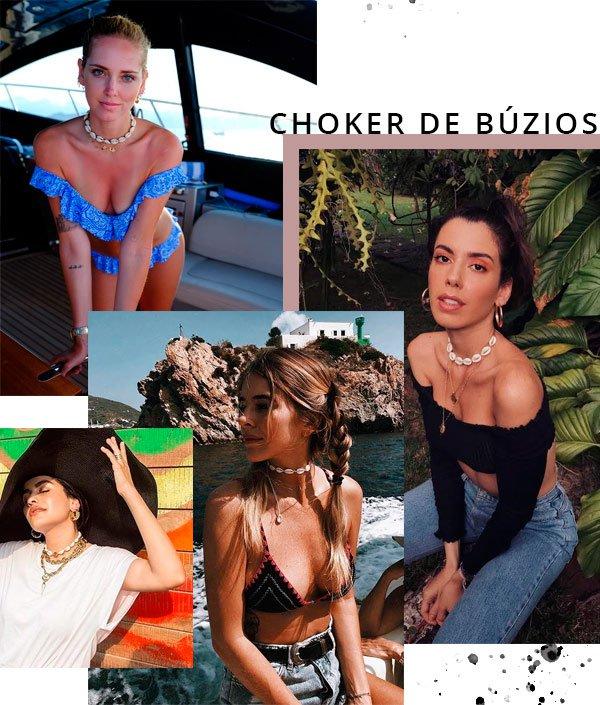 Chiara Ferragni, Tete Feder, Camila Coutinho, Anum Bashir,  - choker-búzios - búzios - verão - street-style