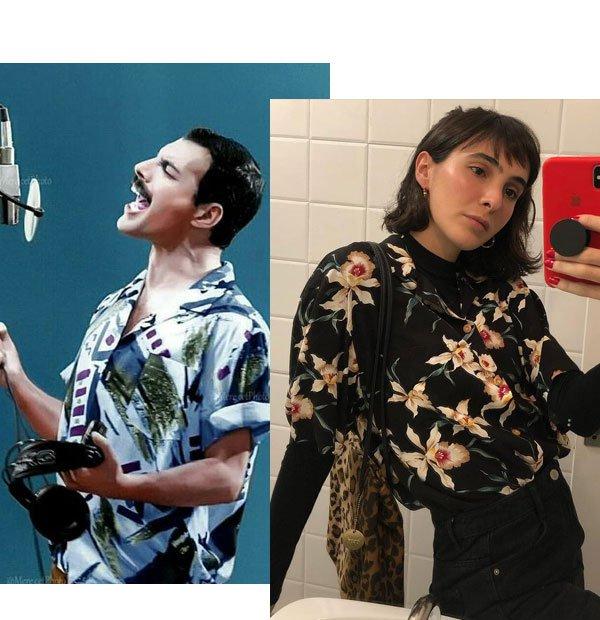 Angelica Bucci - camisa estampada - freddie mercury - meia-estação - street style
