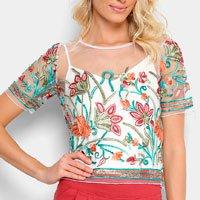 Blusa Lily Fashion Cropped Tule Bordada Feminina - Branco