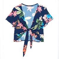 Blusa Cropped Floral com Amarração - Tam: PP / Cor: MARINHO/ROSA