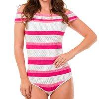 Malha e Tricô Body Pink Tricot Ombro a Ombro Listras Feminina - Rosa e Branco