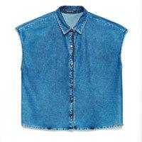 Camisa Jeans sem Mangas Feminina - Tam: PP / Cor: MARINHO