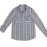 Camisa Feminina Em Tecido De Viscose Com Fio Tinto E Bolsos Frontais