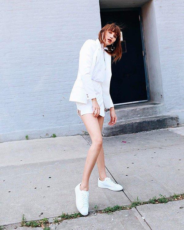 Natalie Lim Suarez - all-white - tênis - verão - street-style
