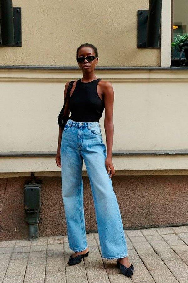 it-girl - regata-preta-calça-jeans - jeans - verão - street-style