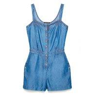 Macacão Curto Jeans com Botões - Tam: PP / Cor: BLUE