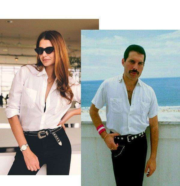 Manuela Bordasch - Camisa e calça jeans - freddie mercury - meia-estação - street style