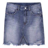 Saia Jeans Feminina Em Algodão Com Detalhe Frontal