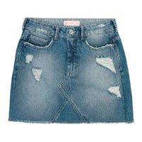 Saia Jeans Destroyed Com Barra Desfiada