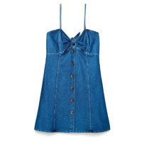 Vestido Jeans Com Amarração e Botões - Tam: PP / Cor: MARINHO