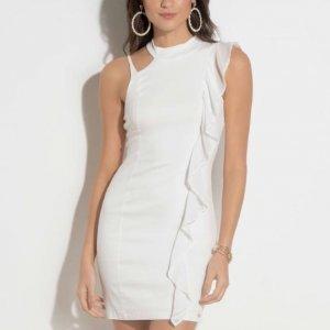 Vestido Quintess Off White Com Babado