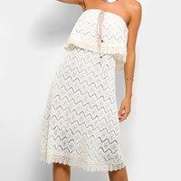Vestido Mob Curto Ciganinha Renda - Off White