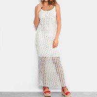 Vestido Longo Lança Perfume Evasê Regata Tricô - Off White