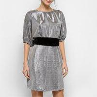 Vestido Colcci Curto Metalizado Com Cinto - Prata