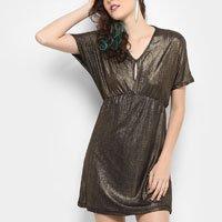 Vestido Drezzup Evasê Curto Metalizado - Dourado e Preto