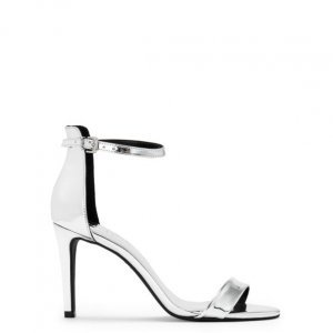 Sandália Salto Fino Metalizada