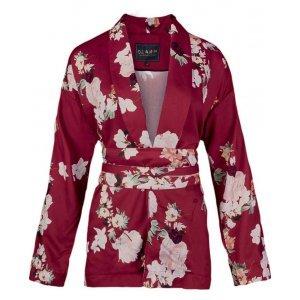 Kimono Floral Em Tecido Cetim De Viscose